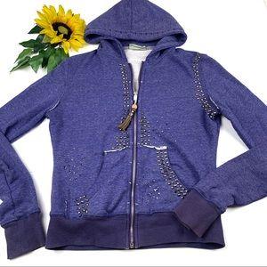 Miss Me zip front rhinestone hoodie sweater Studs